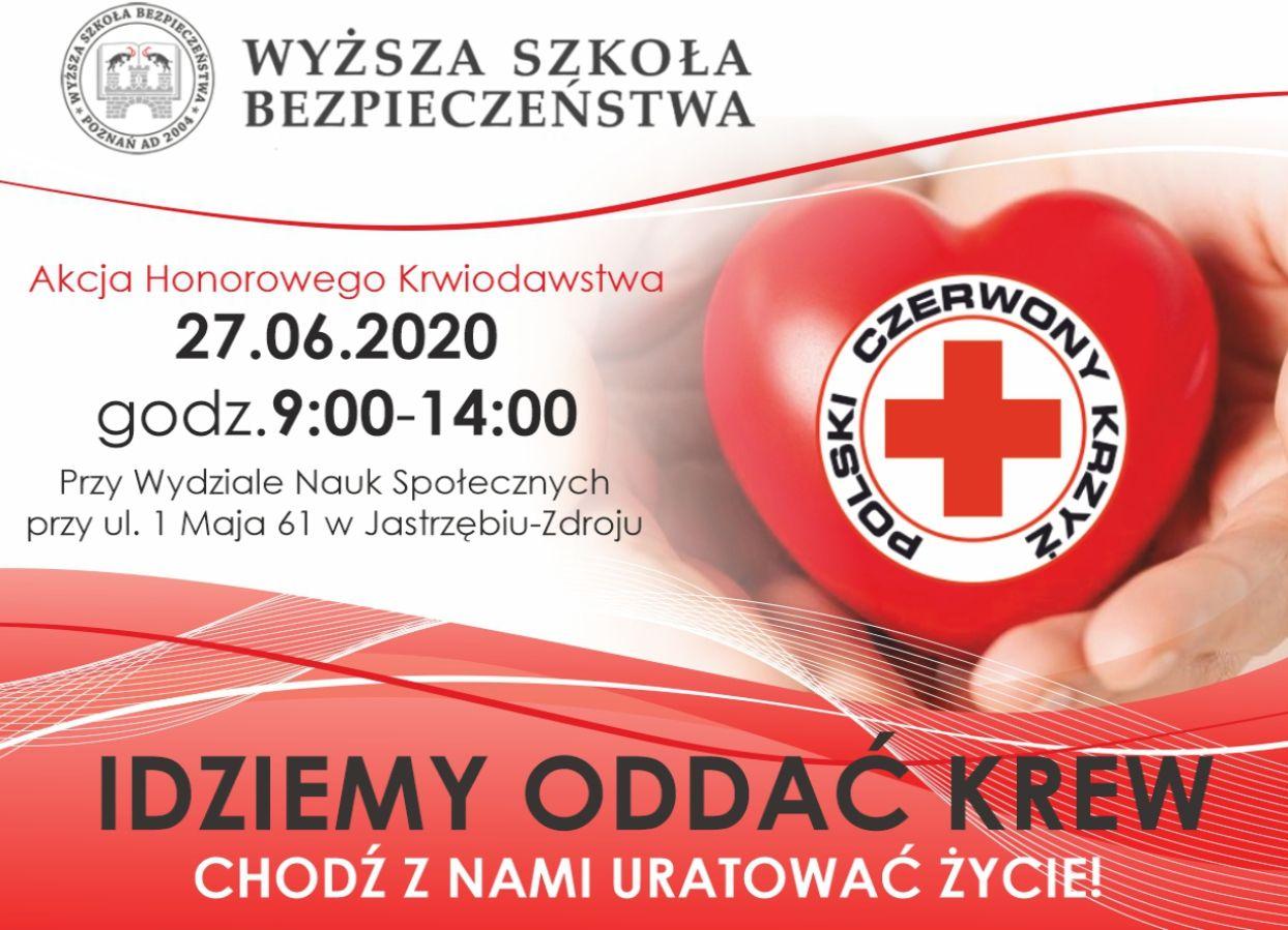 Grafika przedstawia akcję Honorowego Krwiodastwa dotycząca zbiórki krwi na terenie Jastrzębia - Zdroju